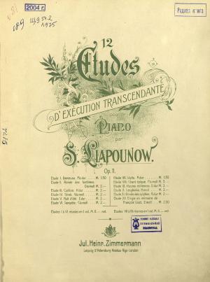 12 etudes d'execution transcendante pour le piano par S. Liapounow Foto №1